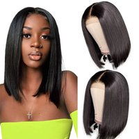 13x4 Short Bob Wigs Human Hair Lace Frontal Brazilian Virgin Straight Wig For Black Women Pre Plucked With BabyHair Bleached Knots