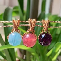 Collares colgantes Curación de joyas de curación Gemas naturales Piedra para collar Alambre envuelto Bola redonda Amatistas Azul Cuarzo Rosa Cristal Mujer