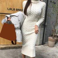 Casual Dresses Winter Knitted Dress Women Turtleneck Warm Criss Cross Street Pencil Autumn All Match Female