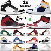 أحذية كرة السلة الرجال النساء 1 ثانية منتصف 1 jumpman إشارة الأزرق العشب البرتقال ألياف الكربون شيكاغو حظر الصنوبر الأخضر متعدد براءات الرجال الرياضة أحذية رياضية