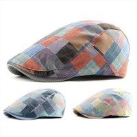 Berretto piatto del cappello del cappello di cotone del cappello di cotone del plaid degli uomini della moda con il berretto regolabile con i berretti unisex di Visiera Sun Cabbie