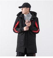 Дизайнерская вышивка мужской парки мода полосатая панель толстая зимняя куртка большой карманный с длинным рукавом повседневная одежда