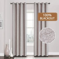 Curtain & Drapes Linen 100% Blackout Curtains For Kitchen Bedroom Window Treatment Solid Water Proof Living Room Custom Made