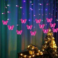Garland de Natal de cortina de borboleta conduziu luzes de fadas de cordas para feriado festa de casamento casa decoração de ano novo