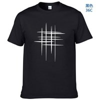 Men's T-Shirts Simple Creative Design Line Cross Print Cotton T Shirts Arrival Summer Style Short Sleeve Men T-shirtSimple D