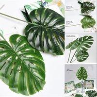Große künstliche tropische Pflanze Schildkröte Blätter Indoor Outdoor-Pflanzen Garten Home Büro Dekor Fake Green Leaf 554 S2