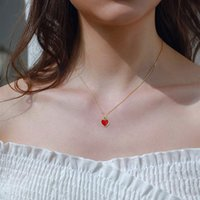 Newest Simple Design Necklace with Red Peach Heart Pendant Trendy Gold Color Chain Necklaces Women Jewelry