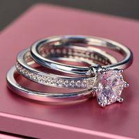 New Temperament Famous Brand Three-Ring Diamond Ring Female Multi-Ring Super Flash Ring Micro Inlaid Zircon Ring