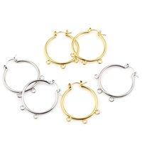 Hoop Huggie 1pair Zinkbasierte Legierung Ohrringe für Frauen Schmuck Findings Kreis Ring Silber Farbe DIY Geschenk W / Schleife 37mm x 30mm