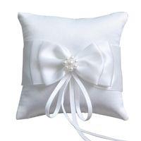 Романтические двойные лук ленты жемчуга кольца подушки свадебные свадебные церемония карманные подушки носителя с лентами украшения