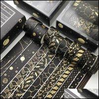 Gift Event Festive Party Supplies Home & Gardengift Wrap 10 Rolls Black Gold Washi Tape Galaxy Sky Diy Decorative Masking Label Adhesive Sti