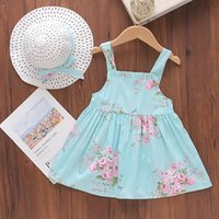 Summer Kids Cute Dress Sleeveless Party Flower Dresses For Children With Hat Girls Princess Clothes Girl's