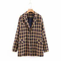 Women's Suits & Blazers Women-s Vintage Plaid Boyfriend Style Oversized Casual Jackets Ladies Long Sleeve Loose Notched Collar Blazer Sets