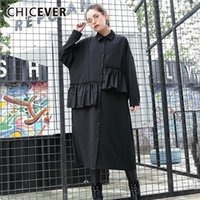 Casual Dresses CHICEVER Summer Black Patchwork Ruffles Dress For Women Lapel Long Sleeve Button Loose Plus Size Midi Straight