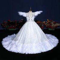 Blumenmädchen Kleid Illusion Oansatz Kurzer Stickerei Kristall Pailletten Perlen Tüll Tüll Spitze Prinzessin Zug Weiß Kinder Partykleid H568 Girl's Dres