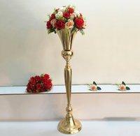98 cm Tall Vintage Çiçek Vazo Pot Parti Dekorasyon Metal Trompet Düğün Evlilik Tören Yıldönümü Centerpiece Süslemeleri Ev GWA8160
