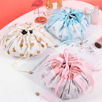 Lazy Cosmetic Bag Velvet Drawstring Bags Cartoon Makeup Organizer Storage Bags Travel Cosmetic Pouch Magic Toiletry String Bag DHT46