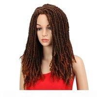 흑인 여성을위한 22 인치 합성 가발 크로 셰 뜨개질 꼰 꼬임 점보 두려움 가짜 locs 헤어 스타일 긴 아프리카 브라운 머리카락