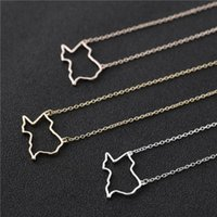 Outline USA State Texas Map Necklace Simple Hollow Open Line Geography American City TX Pendant Necklaces Hometown Souvenir