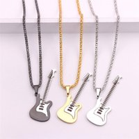 Colors Electric Guitar Pendant Necklace Rock Musical Hip-hop Male Chain Cool Trendy Stainless Steel Jewelry Gift Pub ACC Chains