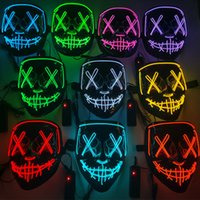 Costume Props LED Scary Light up Mask Luminous Glowing Halloween Party Neon EL Wire Cosplay Horror Masks Decor JY0526