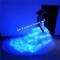 Party Decoration SS8-1 Ballroom Dance Led Costumes Women Luminous Light Dresses Bra Bar Stage Singer Wears Clothes Sexy Dj Skirt