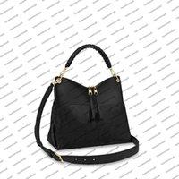M45523 ميدا المتشرد desinger حقيبة المرأة سيدة قماش تنقش حقيقية العجل جلد مضغوط حقيبة يد أعلى مقبض محفظة حزام الكتف حمل
