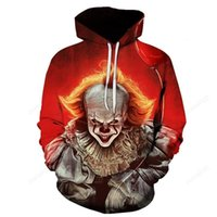 Halloween men's 3D printing demon pattern hoodie visual impact top horror clown punk gothic party round neck high-quality American sweatshirt