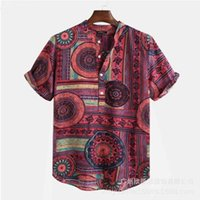 Men's Casual Shirts 2021 Spring Summer Fashion Shirt Ethnic Printed Stand Collar Cotton Short Sleeve Loose Hawaiian Handsome