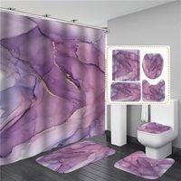 Fashion Geometric 3D Shower Curtains Art Texture Bathroom Waterproof Bath Curtain With Hook Sets Mat Rugs Carpet Home Decor