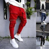 Mens correndo fitness sweatpants moda tendência zíper cordão esportes longos calças mola macho macho bolsos múltiplos casuais calças magras