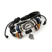 Envoltório multicamada pulseira de couro folha charme puxar cordas ajustáveis braceletes pulseira manguito para mulheres homens moda jóias 478 z2