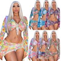 Bayan Seksi Mesh Elbise Baskılı Kravat Boya T-shirt Bodycon Mini Etekler 2 Iki Parçalı Kıyafetler Set Moda Streetwear Gece Kulübü Giysi Takım Elbise 835
