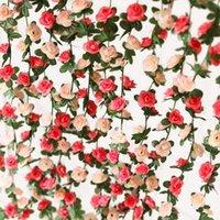 Dekorative Blumen Kränze Party Freude 5 stücke 2,55m Gefälschte Rose Rebe Künstliche Blume Hängende Girlande Pflanzen Efeu für Haus Hochzeit Garten Handwerk