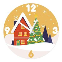 Wall Clocks Cartoon Style Children Room Silent Non-Ticking Wooden Clock Christmas Tree And Red House Round Wood Home Decor