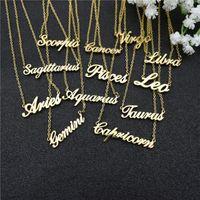 Chains 12 Zodiac Letter Constellations Pendants Necklace For Women Men Virgo Libra Scorpio Sagittarius Capricorn Aquarius Birthday Gift