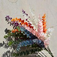 Fleurs décoratives Couronnes en ligne Célébrité Film de bouteille unique Eucalyptus Artificial Artificial Argent Feuille Feuille De Mariage Aménagement paysager Pographique