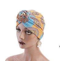 Женская мода печатание завязки тюрбана шляпы Afica India стиль мусульманская шляпа бандана чернокожих женщин головы головы повязки 15 цветов DHE6994