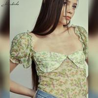 Женская футболка Macheda Летняя мода Печать Slim T рубашка Женщины повседневная оборками квадратный воротник слойки с коротким рукавом одежда Y2K леди обрезана