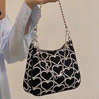Evening Bags Korea Vintage Canvas Bag Ins Women Party Ulzzang Chic Fashion Shoulder Harajuku Zip Y2k Love Embroidery Handbag