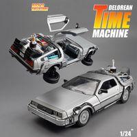 124 Diecast Alaşım Modeli Araba DMC-12 Delorean Gelecekteki Zaman Makinesi Metal Oyuncak Araba Çocuk Oyuncak Hediye Koleksiyonu için