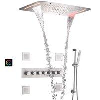 온도 조절기 비 샤워 헤드 시스템 수도꼭지 세트 28x17 인치 CEIL 장착 폭포 LED 패널 욕조 믹서 마사지 바디 제트