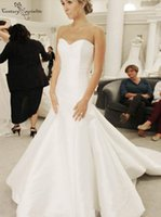 Satin Simple Wedding Dresses 2022 Mermaid Sweetheart Lace Up Back Sweep Train Elegant Bridal Gowns Plus Size Vestido De Noiva