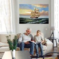 Großes Schiff Segeln Home Decor Riesige Ölgemälde auf Leinwand Handgemalter / HD-Print Wandkunstbilder Anpassung ist akzeptabel 21060612