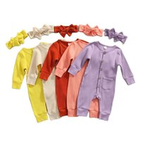Baby boy girls ribbed Romper INS Newborn solid button Jumpsuits with headbands autumn Boutique long sleeve kids Climbing clothes M3794