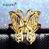 Guldfärg Etiopiska Butterfly Ringar Eritrea Frankrike Afrika Italien Mode Kvinnor Flickor Julår Gåva Jewewlry R65 Band