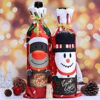 크리스마스 장식 와인 병 커버 가방 Navidad 연회 저녁 파티 크리스마스 귀여운 눈사람 테이블 장식 년 전 공급 BWB8974