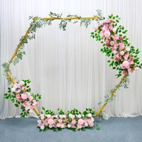 Party Decoration Wedding Props Hexagonal Arch White Gold Iron Shelf Marriage Backdrop Decor Stage Flower Stand Wrought Diamond Accessories