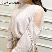 Kuzuwata Сексуальное плечо без бретелек на шнурке DrawString Voile лоскутное свитера осенью шикарные сладкие вязаные пуловеры в Японии стиль о-шеи топы женские