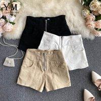 Yuoomuoo молния дизайн высокая талия летние шорты 2021 женские европа стиль тонкий грузовой мод дамы падение женщин